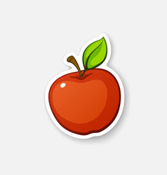 Sticker red apple with stem vector