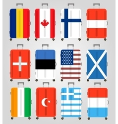 Suitcase icons set 12 Suitcases with flags vector image