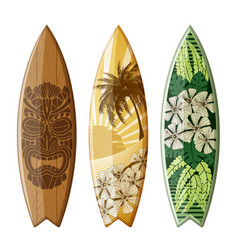 surfboards with flat design vector image