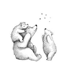 Teddy bears cute family sketch stargazing watching vector