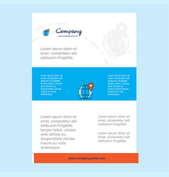 template layout for globe comany profile annual vector image