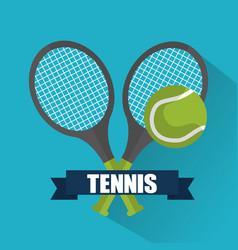 tennis cross racket ball banner emblem vector image