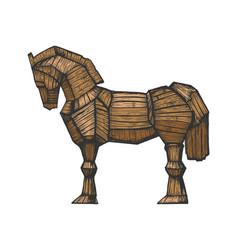 Trojan horse color sketch engraving vector