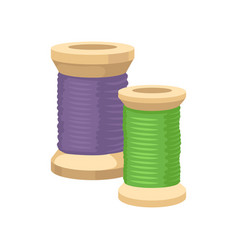Two wooden spools with green and purple threads vector