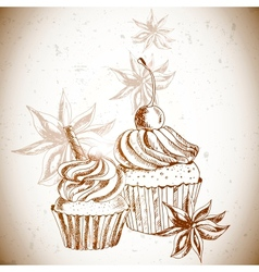 Vintage background with Cupcake and cinnamon vector image