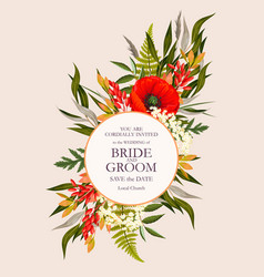 vintage wedding card with flowers and greenery vector image