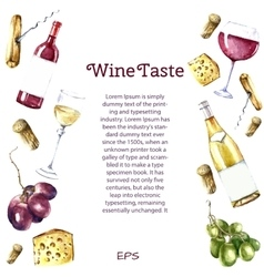 Watercolor wine design elements vector