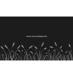 Wheat field line border on black background vector