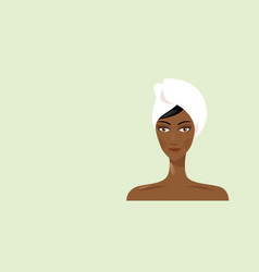 Young african american woman with towel wrapped vector
