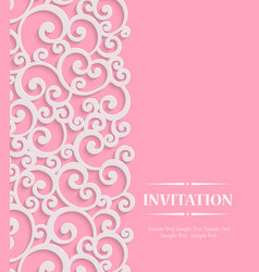 3d Pink Vintage Invitation Card with Floral vector image