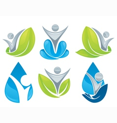 drop and leaves collection vector image