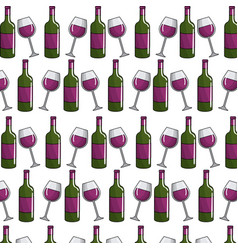 glass and blottle of wine background vector image vector image