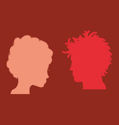 man and woman heads silhouettes vector image vector image