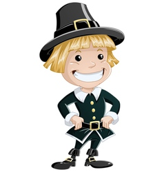 settler boy for thanksgiving vector image vector image