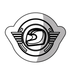sticker helmet in monochrome with half shaded vector image vector image