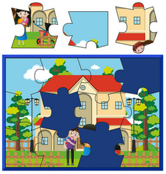 jigsaw puzzle game with family at home vector image