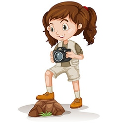 Little girl holding a camera vector image