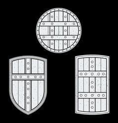 monochrome medieval shields set vector image
