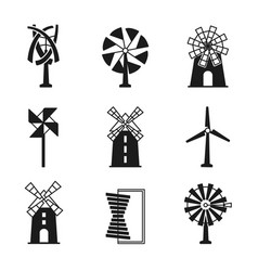 windmill icons wind turbine and mill black vector image