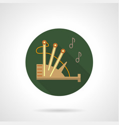 bagpipe melody green round icon vector image