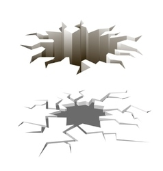 Cartoon ground cracks set Earthquake vector image