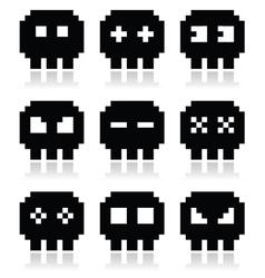 Pixelated 8bit skull icons set vector image vector image
