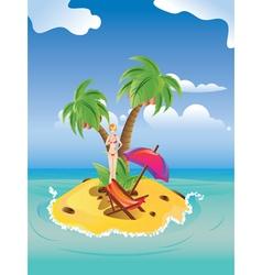 Red Bikini Girl on Island2 vector image vector image