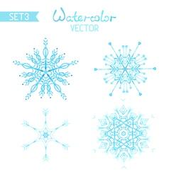 Set os watercolour snowflakes vector image