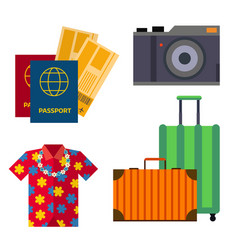 airport travel sight accessory icons flat tourism vector image
