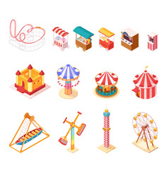 amusement park isometric cartoon icons set vector image