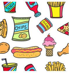 art of food various doodle set vector image