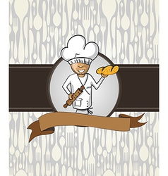 Baker chef cartoon menu badge vector image