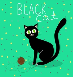 Black cat plays with wool ball vector image vector image