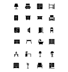 Furniture Solid Icons 2 vector image vector image