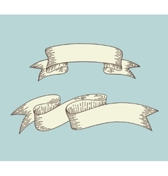 hand drawing ribbon in engraving old vintage style vector image