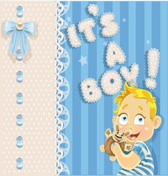 Its a boy blue openwork announcement card vector image
