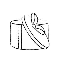 Open round gift box ribbon festive sketch vector