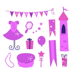 princess party elements vector image
