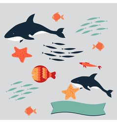 set killer sea vector image vector image