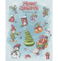 Set of Christmas and New Year festive items and vector image