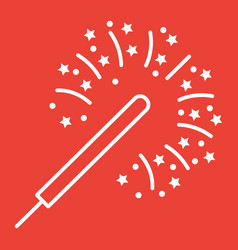 sparkler line icon new year and christmas vector image