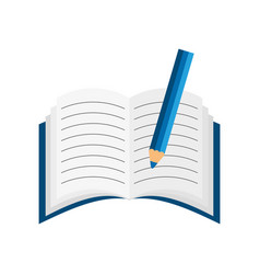 text book with pencil vector image