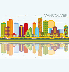 vancouver skyline with color buildings blue sky vector image