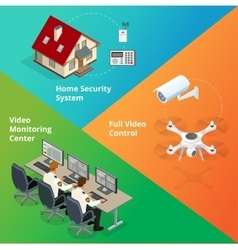 Alarm system Security system Security camera vector image