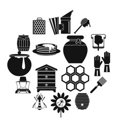 apiary tools icons set simple style vector image