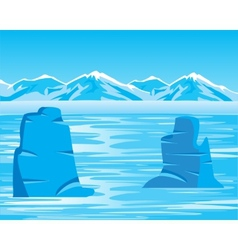 Arctic landscape with iceberg vector