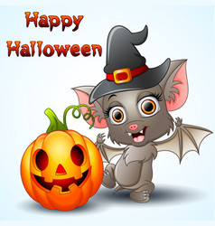 Bat cartoon with a witch hat and pumpkin vector