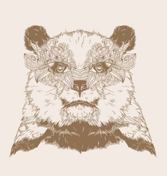 bear portrait with carnival mask vector image