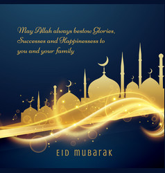 Beautiful eid festival greeting wishes with vector