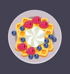 belgian waffles on plate vector image